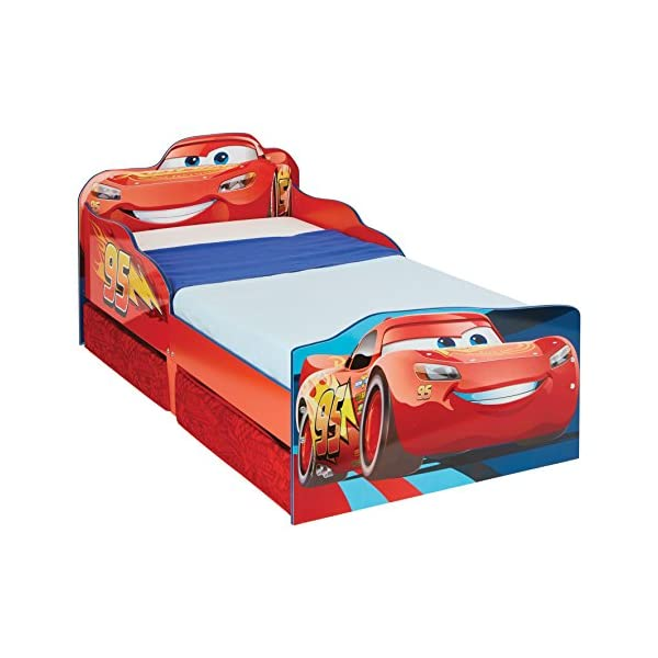 Hello Home Disney Cars Kids Toddler Bed with underbed Storage, Wood, Red, 143x77x63 cm  Perfect for transitioning your little one from cot to first big bed The perfect size for toddlers, low to the ground with protective side guards to keep your little one safe and snug Two handy underbed, fabric storage drawers 1