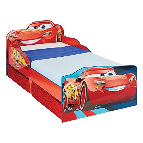 Hello home 509cad disney cars lettino per bambini con contenitore sottoletto, legno, red, 143 x 77 x 63 cm