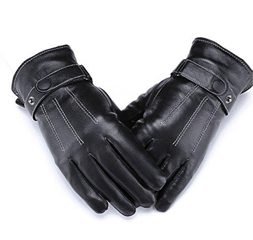 WLITTLE Herren Winter Lederhandschuhe für Touch Screen geeignet, Futter aus Kaschmir, Handschuhe aus echtem Leder