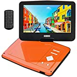 """COOAU 12.5"""" Portable DVD Player with 5hrs Built-in Battery, Upgraded High-Brightness Swivel Screen, Region Free, Support Dual Headsets, AV-Out, SD & USB, Orange"""