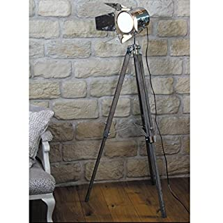 142cm Vintage Retro Theatre Stage Theme Tripod Chrome & Wooden Search Light Spot Light Floor Lamp