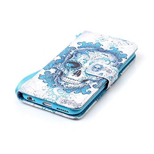 HB-Int 3 en 1 PU Cuir Housse Etui pour Apple iPhone 6 / iPhone 6S (4.7 pouces) Élégant Motif Coque Protecteur Stand Fonction Couverture Flip Wallet avec Lanyard Cover Case Card Slots Book Style Coque  Squelette