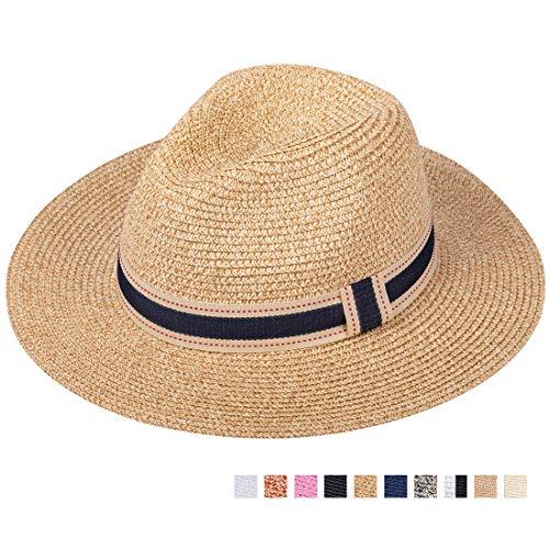 Damen Panama-hut (Maylisacc 57cm Panama-Hut für Damen Herren Breiter Krempe Stroh Fedora Sommer Strand)