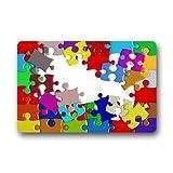 coloré sensibilisation à l'autisme pièces de puzzle lavable en machine Dessus Tissu et dos en caoutchouc antidérapant Paillasson Paillasson 59,9x 39,9cm