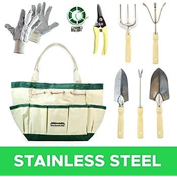 Lot de 9 outils de jardin inoxydables (griffe,secateur,transplantoir ...