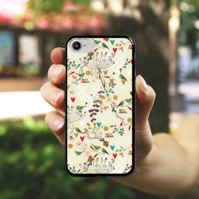 Apple iPhone X Silikon Hülle Case Schutzhülle Flower Retro Vögel Hard Case schwarz
