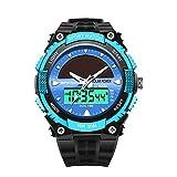 ZSDGY Intelligente Uhr, Männliche Wasserdichte Leuchtende Elektronische Solaruhr, Mittelschüler Digital-Multi-Funktions-Jugend-Sportuhr,A