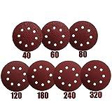 70 Dischi Abrasivi a 8 Fori - diametro 125 mm Dischi Abrasivi Per Levigatrice Eccentrica,dischi da 10 x 40/60/80/120/180/240/320