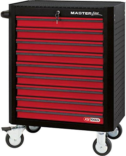 KS Tools Masterline Werkstattwagen mit 9 Schubladen, schwarz / rot, 876.0009