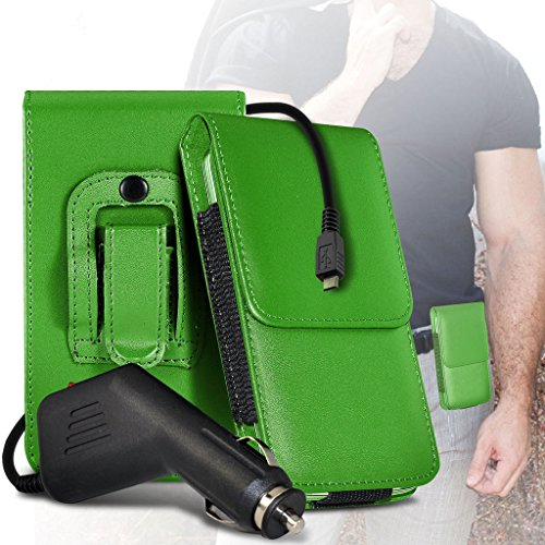 (Black) Case for iPhone 7 Mobile Phone Case (PU) Leather Belt Clip Pouch Case Flip Cover Holster With Magnetic Button + car charger iPhone 7 case by i-Tronixs Belt Flip+ car charger (Green)