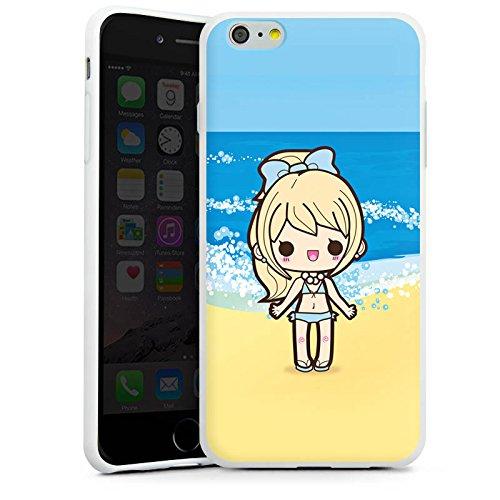 Apple iPhone X Silikon Hülle Case Schutzhülle Strand Kawaii Manga Silikon Case weiß