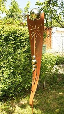 Rost Garten Gartendeko Rost Stecker Rostsäulen mit 5 Edelstahlkugeln von awiesmueller / Gartendekoshop24 bei Du und dein Garten