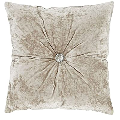 Catherine Lansfield Crushed Velvet Diamante Filled Cushion - Natural Cream