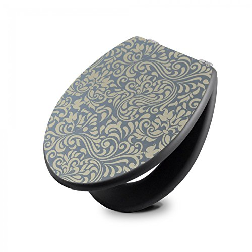 banjado Design Toilettensitz in Anthrazit | WC-Sitz Holz MDF 42,3×3,5×37,5cm | Klodeckel mit Edelstahl Scharnieren | Toilettendeckel mit Motiv Blaues Ornament