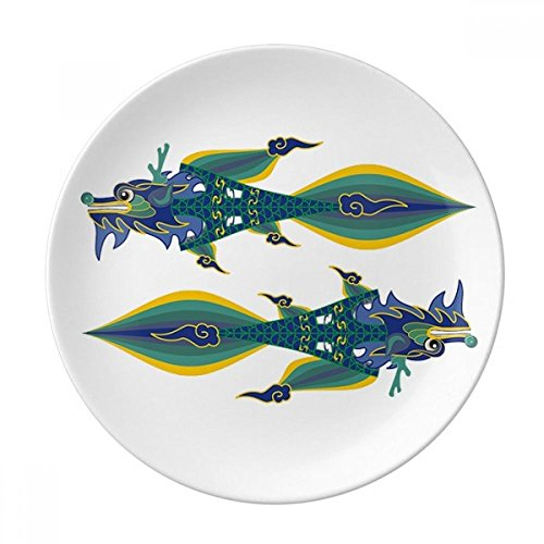 DIYthinker Chine France Tour Eiffel Dragon de Chine Porcelaine décorative Dessert Plate 8 Pouces Dîner Accueil Cadeau 21cm diamètre Multicolor