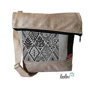 Foldover Tasche Ornamente in gold schwarz Stickerei handmade Foldovertasche mit Außenfach