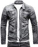 CRONE Epic Herren Lederjacke Cleane Leichte Basic Jacke aus weichem Schafs-Leder (M, Vintage Grau (Wildleder))