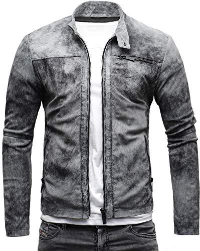 CRONE Epic Herren Lederjacke Cleane Leichte Basic Jacke aus weichem Wildleder (L, Vintage Grau (Wildleder)) (Weiches Leder Reißverschluss Echtes,)
