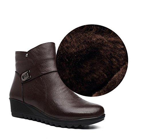 Khskx - Avec Hauteur De 4 Cm De Chaussures En Cuir Marron Coton Marron Et Velours Femmes Anciennes Bottines 37 38