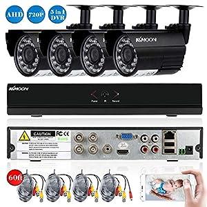 camara circuito cerrado: KKmoon Kit Seguridad CCTV 4CH Full AHD 1080N/720P DVR HDMI + 4x 1500TVL Cámara B...