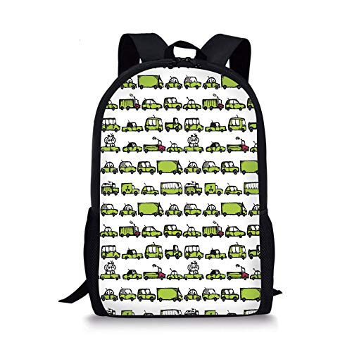 School Bags Cars,A Number of Cars with Various Jobs Trucks Sedans Buses Traveling Journey Working Decorative,Apple Green for Boys&Girls Mens Sport Daypack