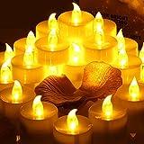 Flackernden LED Kerzen mit Timerfunktion, Meiso 12 Stück led teelichter mit timer, 6 Stunden an und 18 Stunden aus, elektrische flackernde batteriebetriebene kerzen, Bernstein Licht