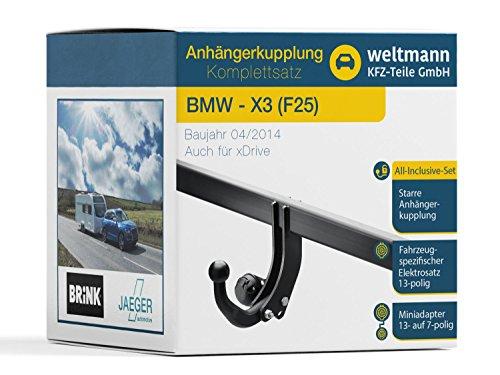 Weltmann 7B020025 geeignet für BMW X3 (F25) - Starre Anhängerkupplung inkl. fahrzeugspezifischem 13-poligen Elektrosatz
