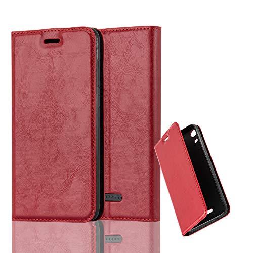 Cadorabo Hülle für WIKO Lenny 4 - Hülle in Apfel ROT – Handyhülle mit Magnetverschluss, Standfunktion und Kartenfach - Case Cover Schutzhülle Etui Tasche Book Klapp Style