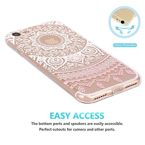 Coque iPhone 7 Silicone Étui Housse JIAXIUFEN Transparent Souple TPU Protecteur Coque pour iPhone 7 - Pink Circle Flower Tribal Mandala Flower-Pink