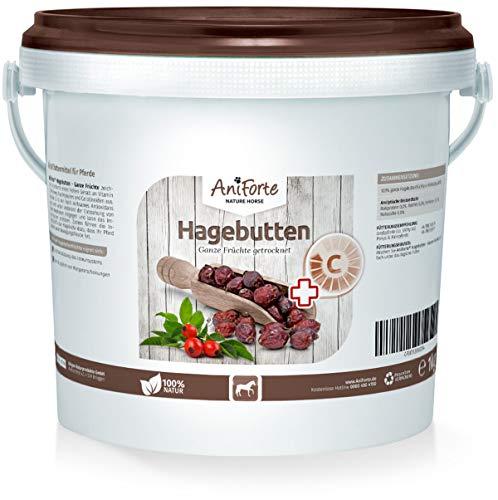 AniForte Hagebutten Ganze Früchte naturrein 1 kg glutenfrei Vitamin C hoher Fruchtgehalt - Natur Pur mit Ganzen Hagebutte-Früchte für Pferde und Tiere