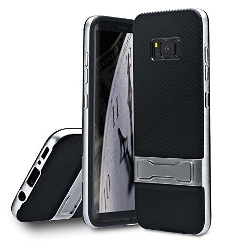 Lincivius Samsung S8 Plus Hülle, Galaxy S8 Plus Handyhülle Carbon Mit Krücke Schutzhülle Hüllen Cover Design [CARBON STAND] Slim Case hybrid Hard Contour + Softshell backcover Krücke - Silber (Krücken Plus)