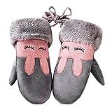 Weihnachtsgeschenk Kinder Handschuhe SHOBDW Winter Kinder Mädchen Jungen Twist Handschuhe Warm Vollfinger Handschuhe (Grau)