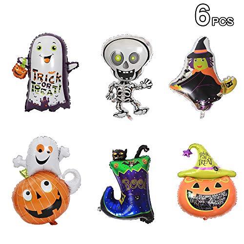 iitrust Halloween Deko, 6 Stück Halloween Luftballons | Hexenstiefel, Skelett, Kürbis, Geist, Kürbis + Geist, Hexe