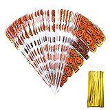 100 Zählt Kürbis Cone Cellophan Taschen mit 100 Stück Gold Twist Ties für Halloween Party Gefallen