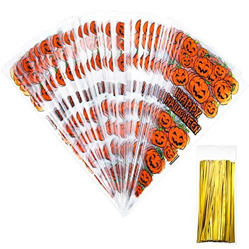 100 Zählt 33 x 17 cm Kürbis Cone Cellophan Taschen mit 100 Stück Gold Twist Ties für Halloween Party Gefallen