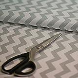 4L Textil Baumwollstoff Uni 100% Stoffe Stoff Meterware Baumwolle Ungemuster, Blumen, Dots, Rosen, Eulen 50 cm (Chevron grau)