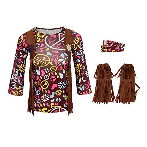 D DOLITY Mädchen Böhmischen Hippie Kostüm 60er 70er Disco Dolly Kostüme mit Shoes Cover und Haarschmuck - S Kind Disco Dolly