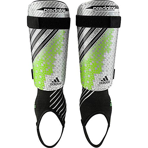 adidas Predator Replique (Detachable Ankle) Shinguard, Silver/Green/Black, Size Small