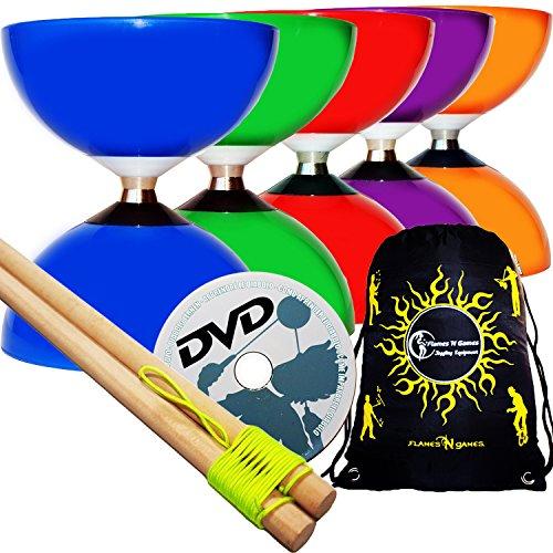 CAROUSEL Diabolo Freiläufer mit kugellager Dreifache Lagerung Set mit Diablo Holzhandstäbe und Diaboloschnur + Diabolos Reisetasche! (Grun Diabolo + Holzhandstäbe + DVD)