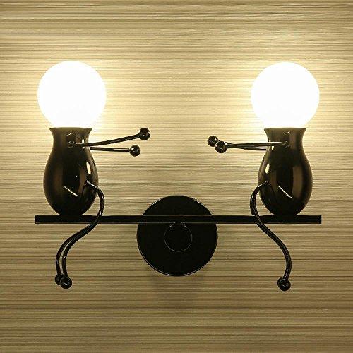 Modern Klassisch Creative Karikatur Design Deluxe doppeltem LED Wippe Form Wandleuchte Wandlampe Innen minimalistische Metall Einstellbar Kinder Wandbeleuchtung Edison 2*E27 max. 40 Watt , Schwarz