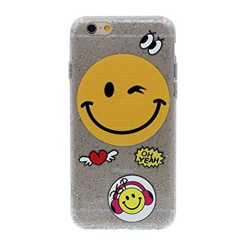 """Mignon Sourire Emoji Motif Briller iPhone 6S Plus Coque Case Transparent Souple Élastique TPU Fine Mince Poids Léger Housse de Protection pour Apple iPhone 6 Plus 6S Plus 5.5"""" Color-4"""