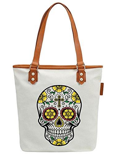 S.CHU Women's Skull Floral Canvas Leather Tote Handbag Ladies Shoulder Bag Weiß