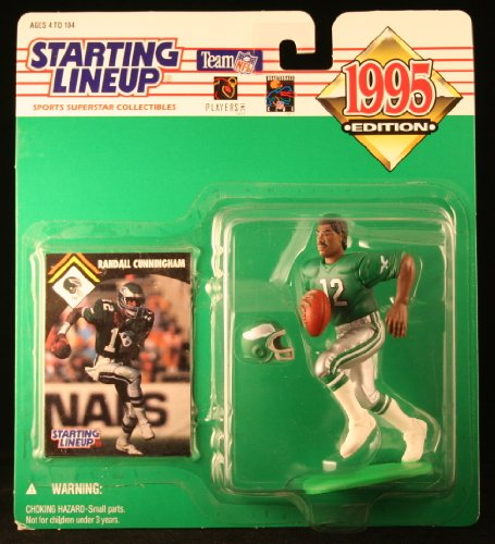 Randall Cunningham/Philadelphia Eagles 1995NFL Starting Lineup Aktion steht & Exclusive NFL Collector Trading Card