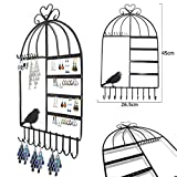 Aution House - Vintage Class Jewelry Organizer Hanger Hooks Birdcage Shape Wall Mount Hanging Earring Holder Necklace Jewelry Display Stand Rack (Black)
