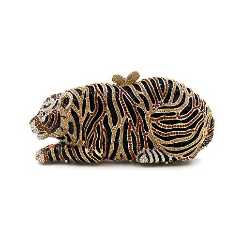 Diamante di lusso Tiger Cena Borsa borsetta Borse sera Wallet B