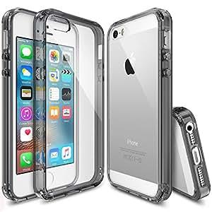 Custodia iPhone SE, [Ringke FUSION] Assorbimento urti TPU Goccia Protezione, Premio Chiaro Forte Indietro [Antistatico][Resistente Ai Graffi] per Apple iPhone SE 2016 / 5S 2013 / 5 2012 - Smoke Black