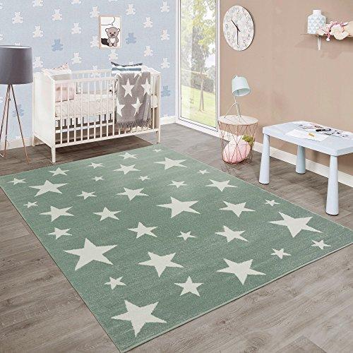 Moderner Kurzflor Kinderteppich Sternendesign Kinderzimmer Pastell Grün Weiß, Grösse:120x170 cm