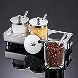 ZPSPZ-Kitchen Rack ZPSPZ Küchenregal Es Gibt 304 Edelstählen Auf Glas Cruet Gewürz - Set Haushalt Die Transparente Zucker,Drei Geschmack