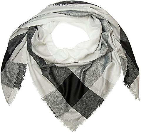 styleBREAKER XXL Vierecktuch mit Karo und Streifen Print, Fransen am Saum, Schal, Tuch, Damen 01016130, Farbe:Schwarz-Grau-Weiß