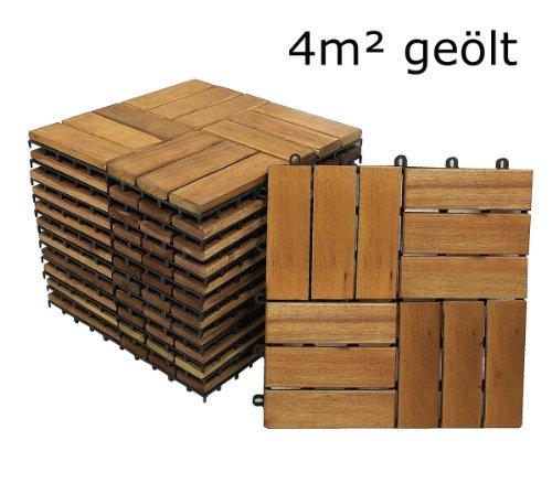 SAM® Terrassenfliese 02 aus Akazien-Holz, FSC® 100 % zertifiziert, 44er Spar-Set für 4 m², Garten-Fliese in 30 x 30 cm, Bodenbelag mit Drainage, Klick-Fliesen für Terrasse Garten Balkon